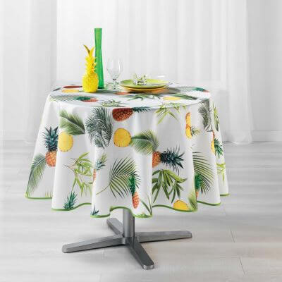 Nappe ronde - Ananas et palmier - Diamètre :  180 cm - Polyester
