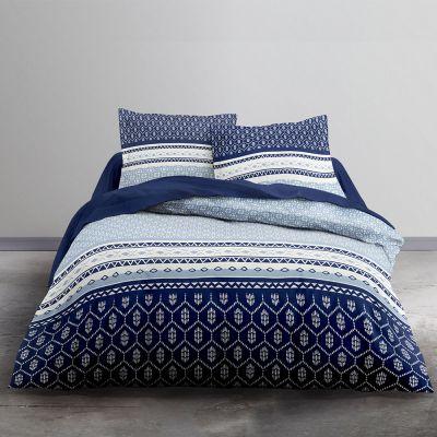 Housse de couette - Bleu géométrique - 240 x 220 cm + taie - 100% coton 57 fils