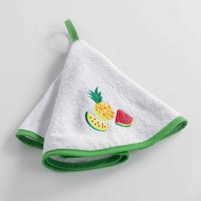 Essuie-main rond - Ananas et pastèque - Diamètre : 60 cm - Éponge