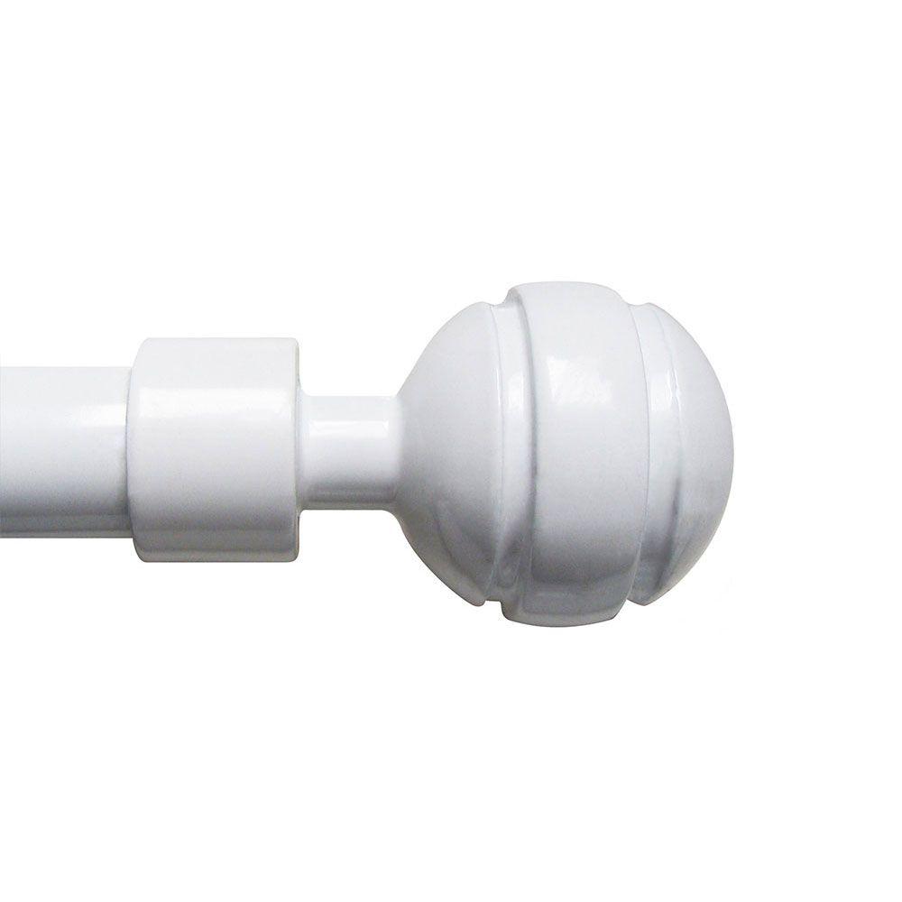Tringle à rideaux extensible - 120 à 210 cm - Boule - Deux coloris : Couleur:Blanc