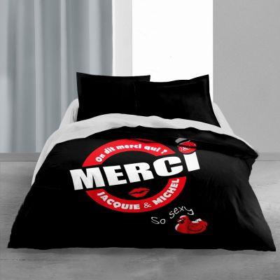 Couette imprimée - 240 x 220 cm - Jacquie et Michel - Noir