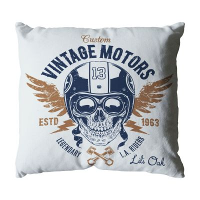 Coussin - Tête de mort - Vintage - Moto - 40 x 40 cm - coton