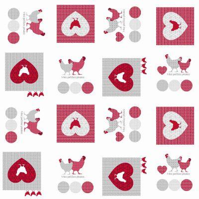 Toile cirée au mètre - Largeur 140 cm - Poulinettes, poules coeur
