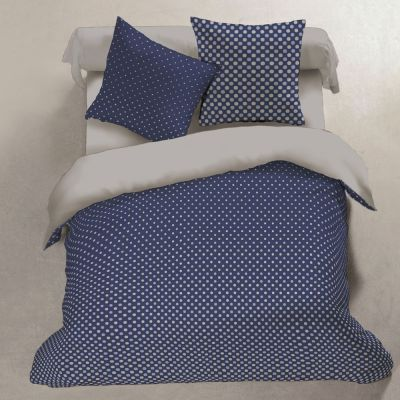 Housse de couette - Pois bleus - 240 x 220 cm + taies - 100% - Flanelle