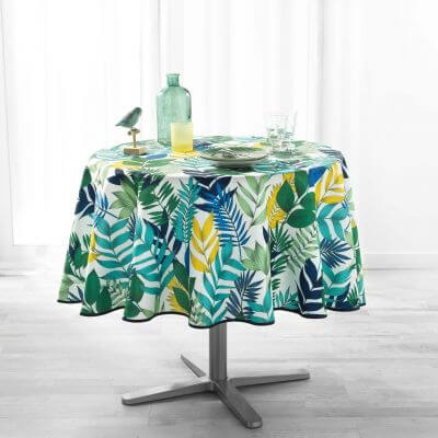 Nappe ronde anti tache - Diamètre 180 cm - Polyester - Tropical