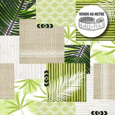 Toile cirée au mètre - Largeur 140 cm - Bambous et feuilles de palmier