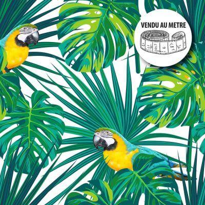 Toile cirée au mètre - Largeur 140 cm - Feuille de palmier et perroquet