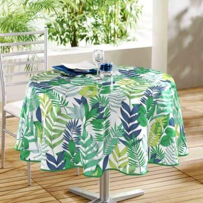 Nappe ronde anti tache - Diamètre 160 cm - Polyester - Tropical