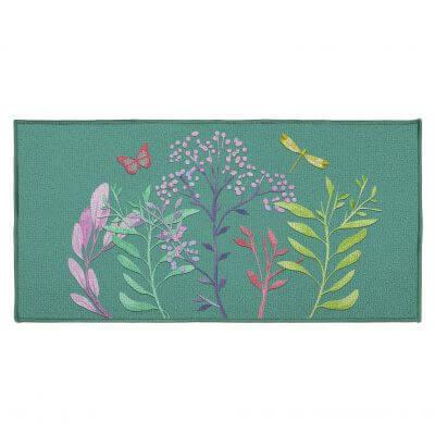 Tapis antidérapant - 57 x 115 cm - Fleurs