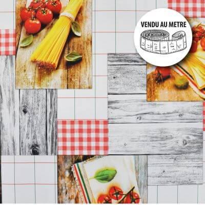 Toile cirée au mètre - Largeur 140 cm - Pâtes et tomates