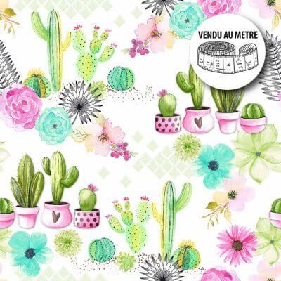 Toile cirée au mètre - Cactus en folie - Largeur 140 cm