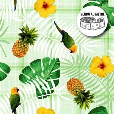Toile cirée au mètre - Ananas et perroquet - Largeur 140 cm