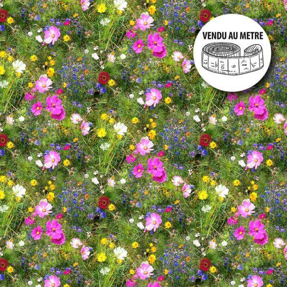 Toile cirée au mètre - Largeur 140 cm - Champ fleuri