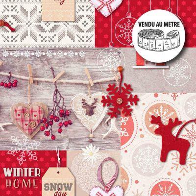 Toile cirée au mètre - Largeur 140 cm - Winter home, Noël à la maison