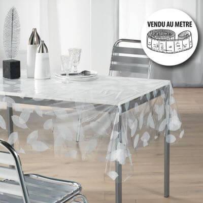Toile cirée au mètre - Largeur 140 cm - Cristal - Feuilles - Blanc