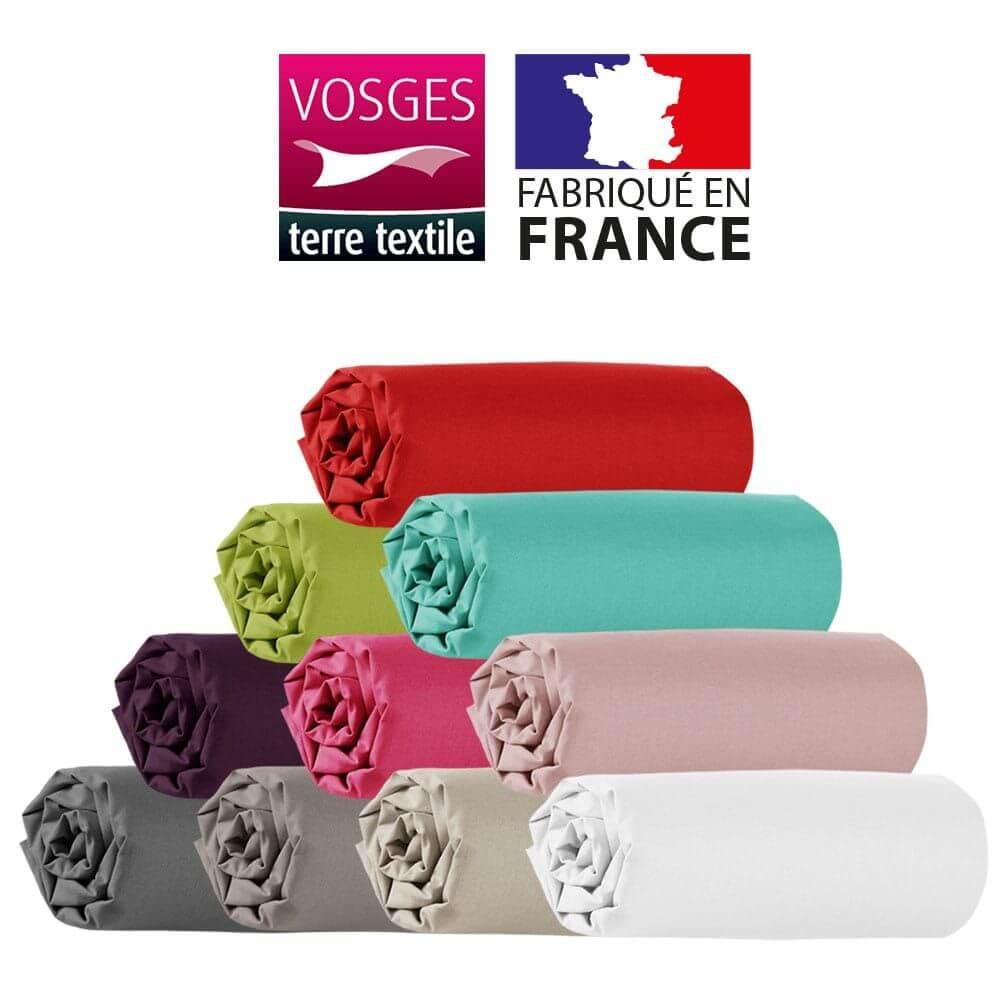 Drap housse - 150 x 190 cm - 100% coton - 57 fils - France : Couleur:Prune