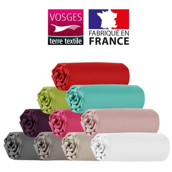 Drap housse - 150 x 190 cm - 100% coton - 57 fils - France