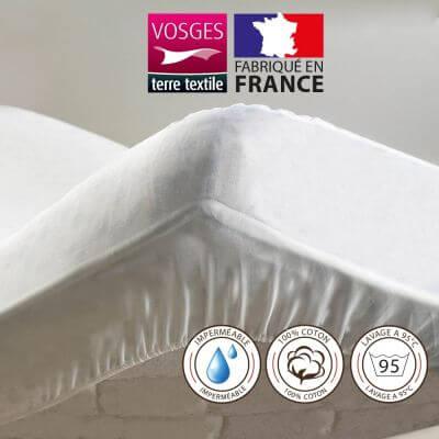 Alèse protège-matelas 140 x 200 cm imperméable 100% coton France