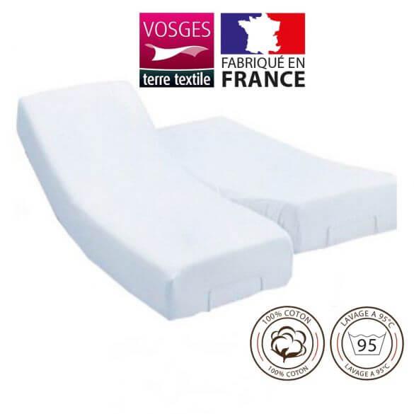 Protège-matelas 160 x 200 cm molleton lit électrique 100% coton France