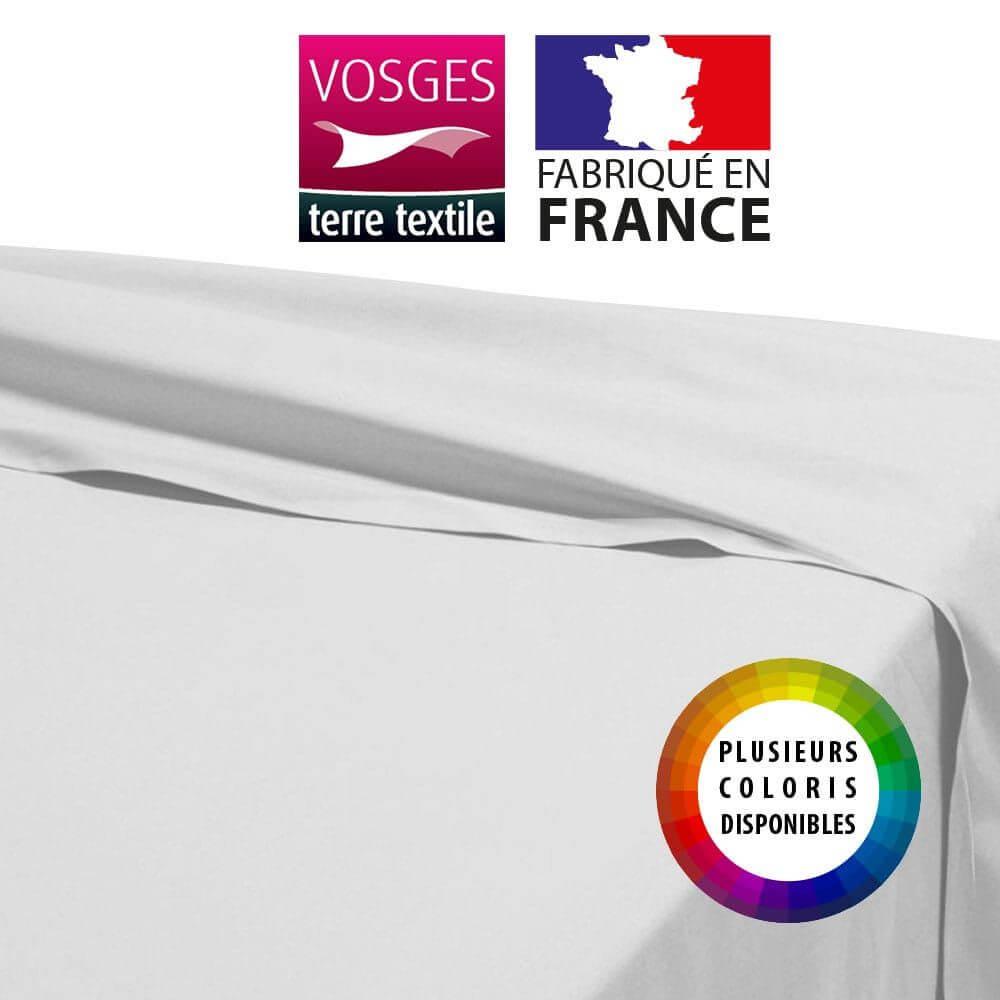 Drap plat - 180 x 290 cm - 100% coton - 57 fils - France : Couleur:Blanc