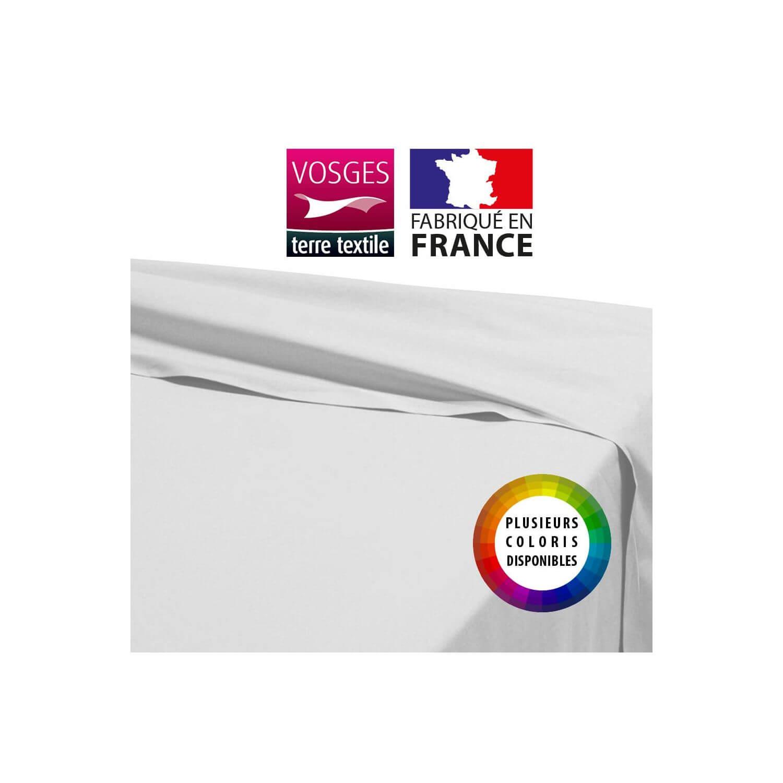 Drap plat - 240 x 310 cm - 100% coton - 57 fils - France