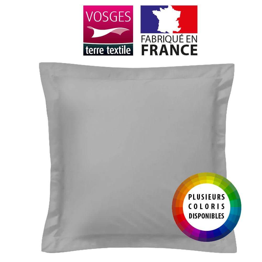 Taie d'oreiller carrée - 65 x 65 cm - 57 fils - 100% coton - France : Couleur:Gris
