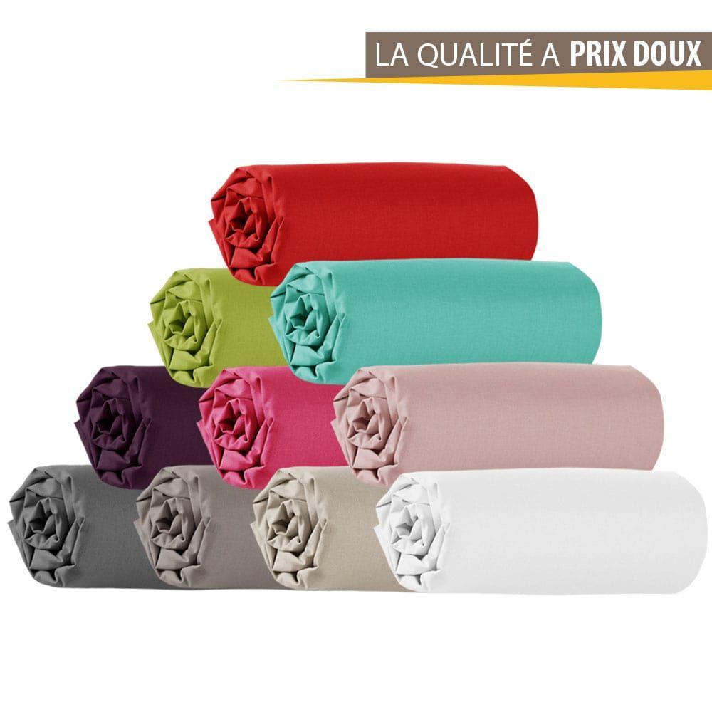 Drap housse - 140 x 190 cm - 100% coton - Différents coloris : Couleur:Corail