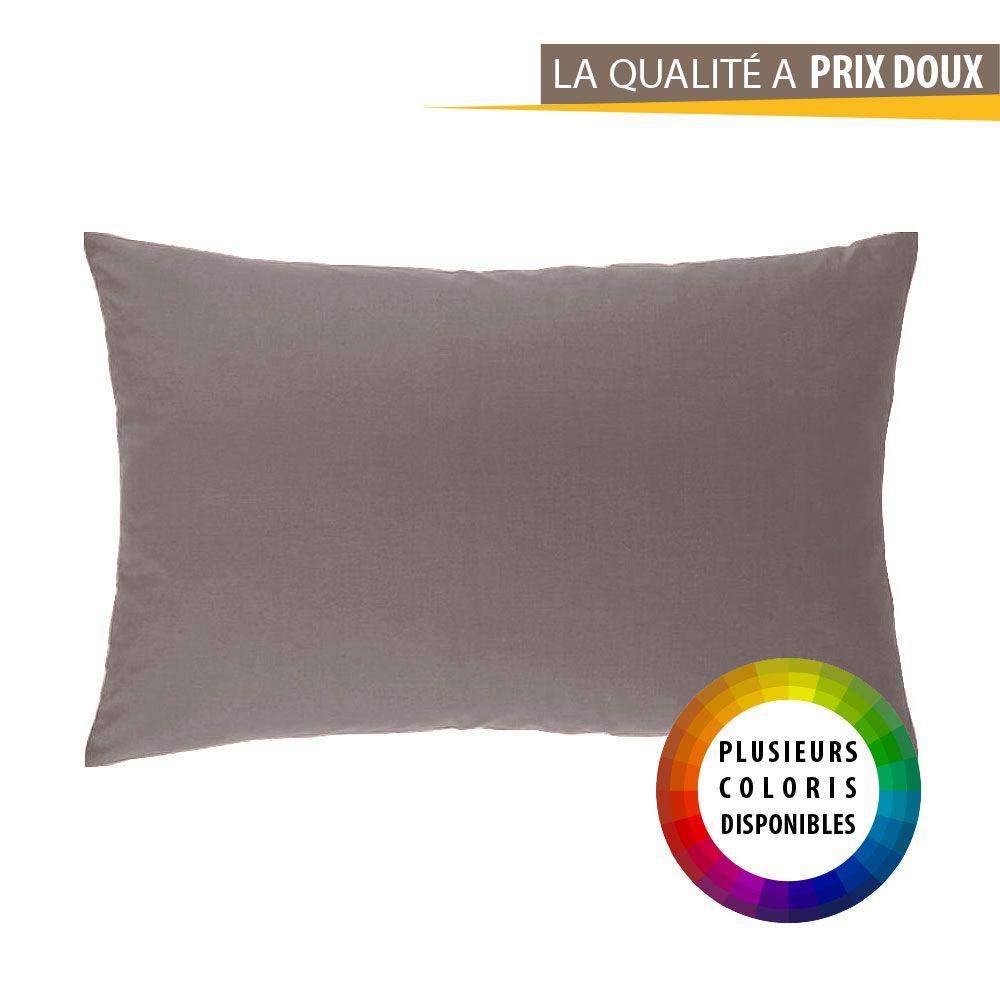 Taie d'oreiller rectangle - 50 x 75 cm - Atmo - Uni : Couleur:Taupe