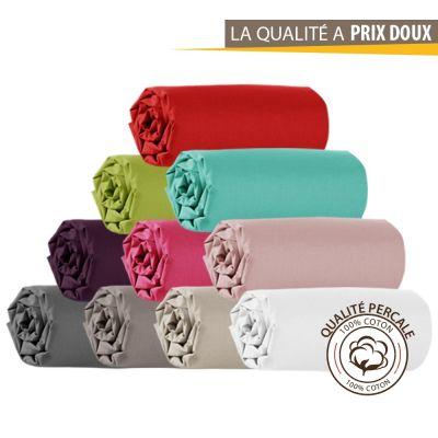 Drap housse - 180 x 200 cm - Percale - 78 fils/cm² - Différents coloris