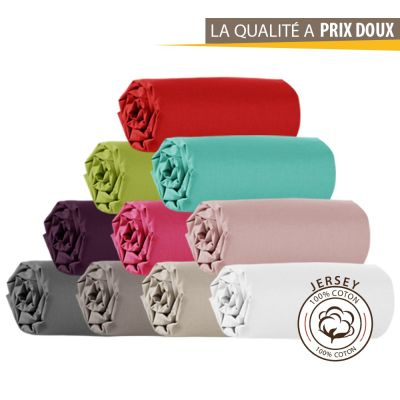 Drap housse Jersey - 90 x 190 cm - 100% coton - 120 gr/m2