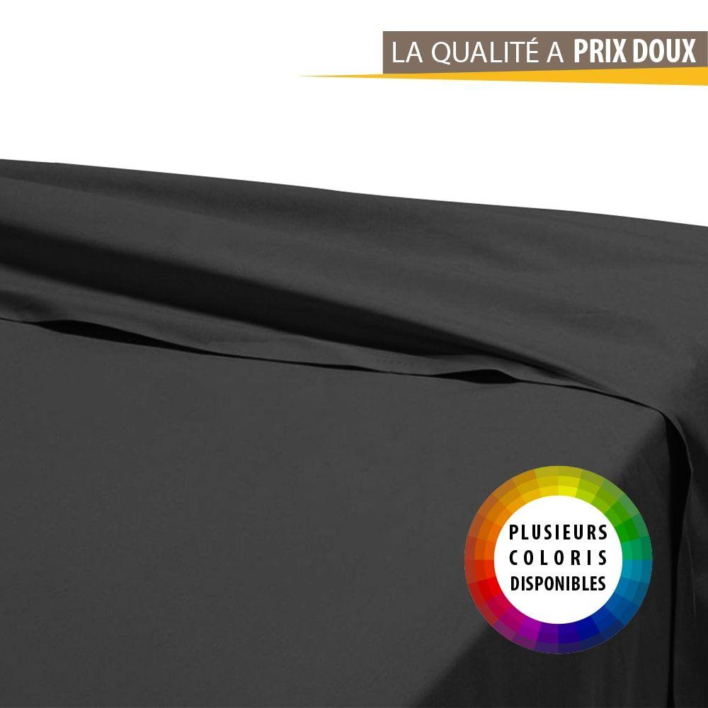 Drap plat - 180 x 290 cm - 100% coton - Différents coloris : Couleur:Réglisse