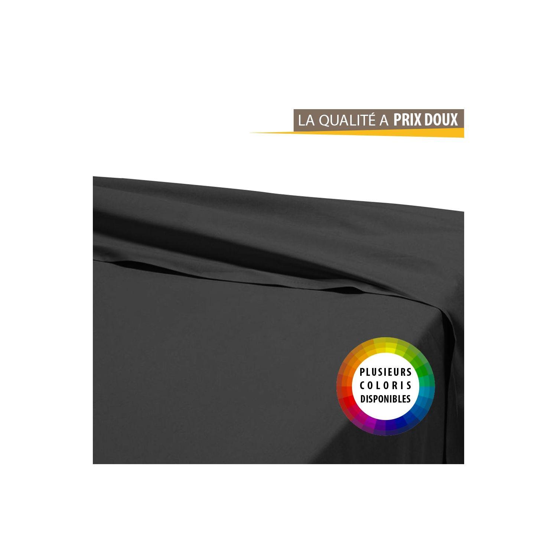 Drap plat - 180 x 290 cm - 100% coton - Différents coloris