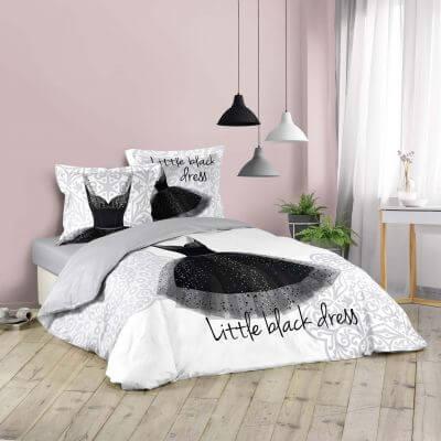 Housse de couette - 220 x 240 cm + taies - Robe noire