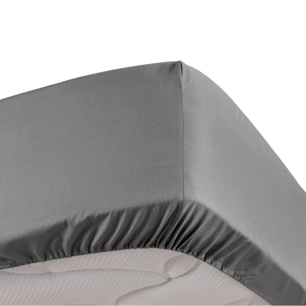 Drap housse - 140 x 190 cm - Percale - 78 fils - Uni : Couleur:Gris