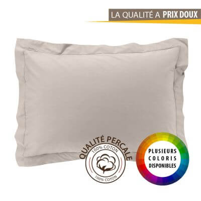 Taie d'oreiller rectangle - 50 x 70 cm - Percale - 78 fils - Uni
