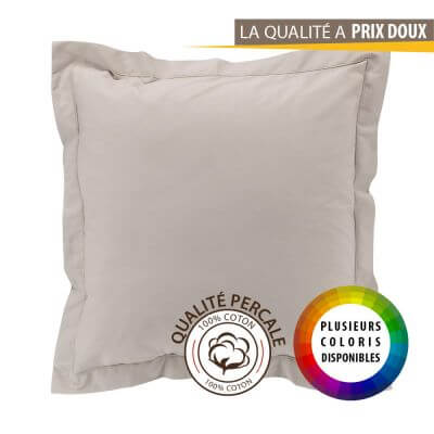 Taie d'oreiller carrée - 63 x 63 cm - Percale - 78 fils - Uni