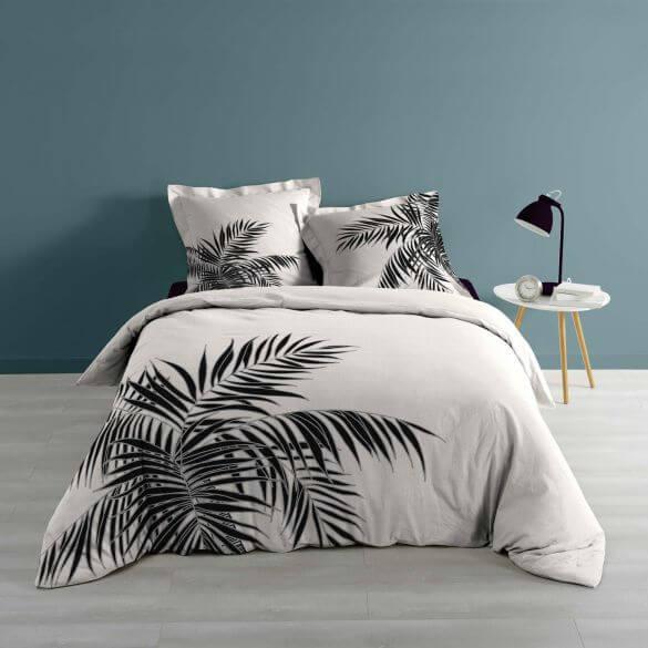 Housse de couette - 220 x 240 cm + taies - Feuilles de palmier