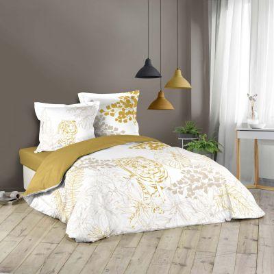 Housse de couette - 220 x 240 cm + taies - Tigre et feuillage blanc et or