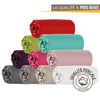 Drap housse - 160 x 200 cm - Percale - 78 fils/cm² - Différents coloris