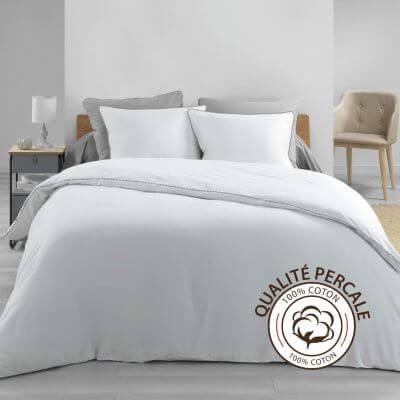 Housse de couette - 240 x 260 cm + taies - Percale - Blanc - 78 fils - Uni