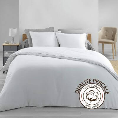 Housse de couette - 220 x 240 cm + taies - Percale - Blanc - 78 fils - Uni