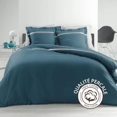 Housse de couette - 220 x 240 cm + taies - Percale - Bleu - 78 fils  - Uni