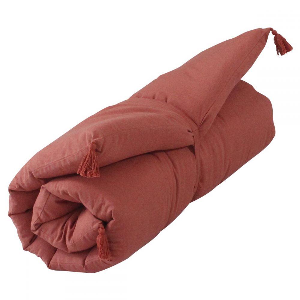 Banquette futon - 60 x 120 cm - Uni : Couleur:Terracotta