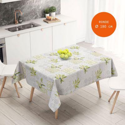 nappe toile cirée ronde diam 180 cm - Carreaux de ciments et Olives