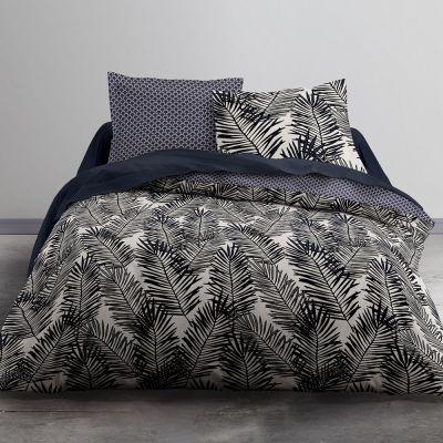 Housse de couette réversible - 220 x 240 cm + taies - Feuilles de palmiers