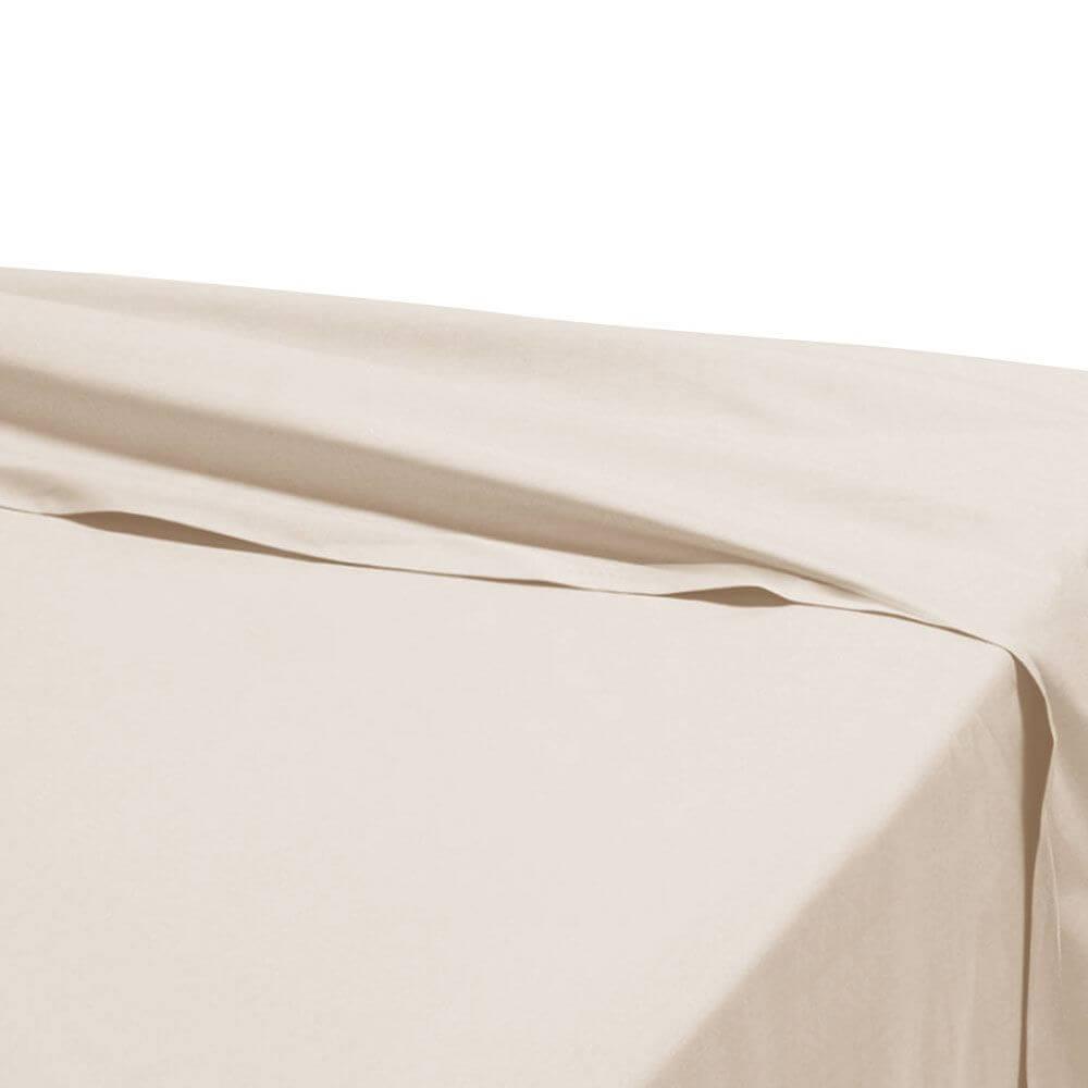 Drap plat - 180 x 290 cm - 100% coton - 57 fils - France : Couleur:Champagne