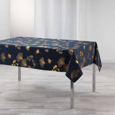 Nappe antitache rectangulaire - 150 x 240 cm - Polyester - Feuilles de ginkgo biloba