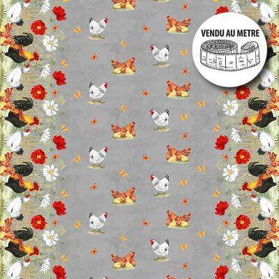 Toile cirée au mètre - Largeur 140 cm - Poules, fleurs et papillons