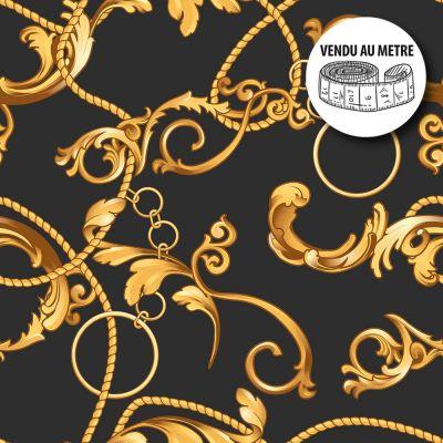 Toile cirée au mètre - Largeur 140 cm - Motifs Chaines en or