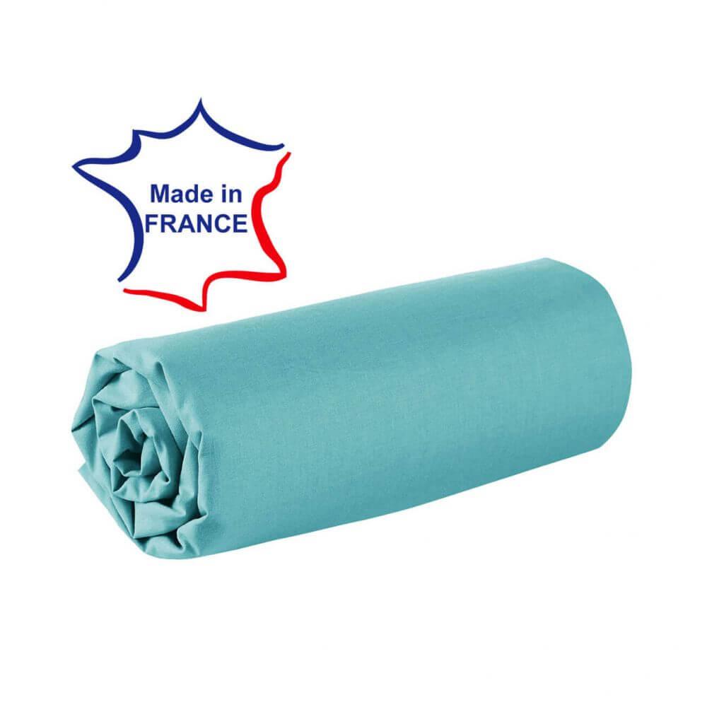 Drap housse - 150 x 190 cm - 100% coton - 57 fils - France : Couleur:Turquoise